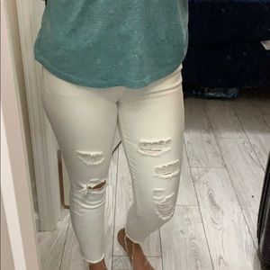 Distressed White Cropped Jegging - EXPRESS!